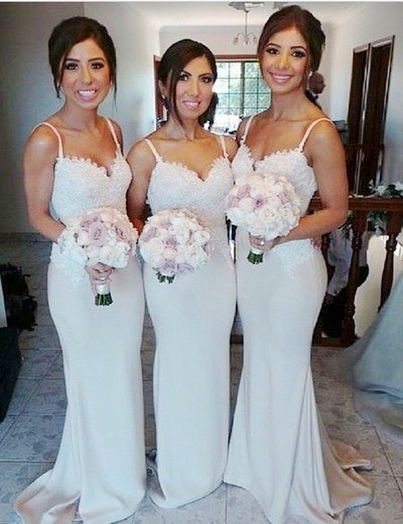 Silver lace bridesmaid dress