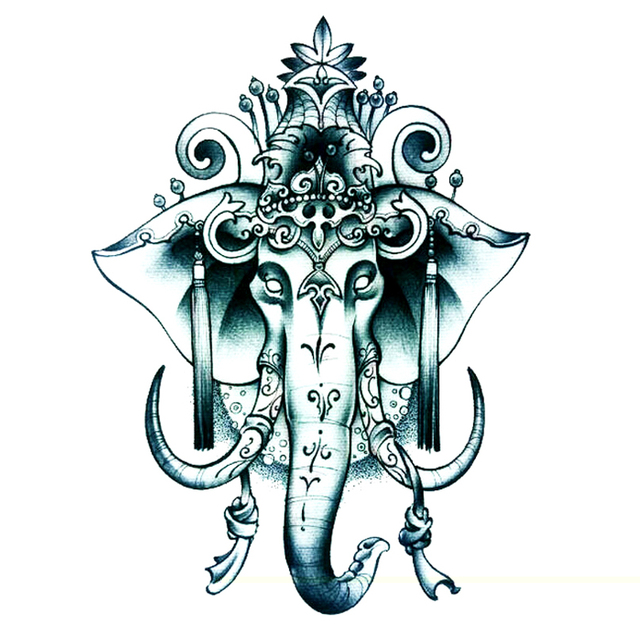 3pcs New Indian Elephant God Temporary Tattoo Sticker Temporary Body