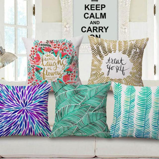 Manufacturers Selling Simple Flowers And Leaves Printing Cotton Custom Decorative Pillow Manufacturers