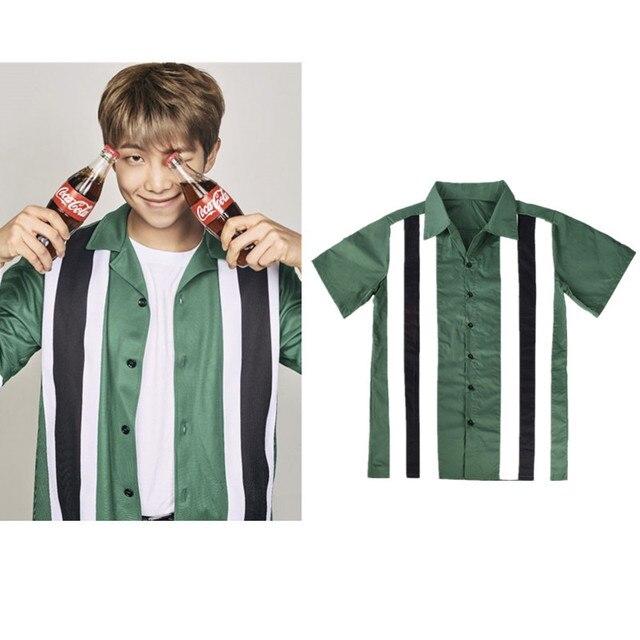 b4232d3e04 kpop BTS Bangtan Boys Jinnan Jun striped short-sleeved dark green fashion  personality men women