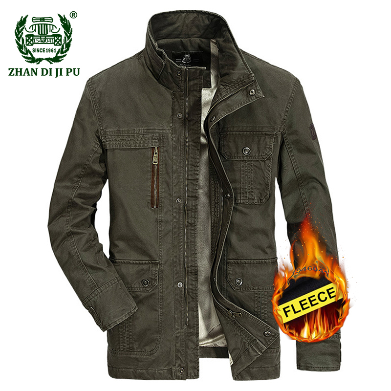 2018 Winter thicken warm men's military casual brand 100% cotton black jacket man afs jeep army green jackets khaki fleece coats