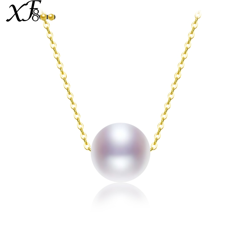 XF800 AU750/18K Gold Necklace Jewelry Natural Freshwater Pearl Necklace Pendant Classical White 7.5-8mm Round Pearl S54 yoursfs heart necklace for mother s day with round austria crystal gift 18k white gold plated