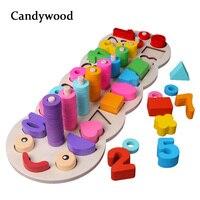 Детские деревянные игрушки материалы montessori учиться считать номера, соответствующие цифровой Форма матч раннего образования обучающая Мат...