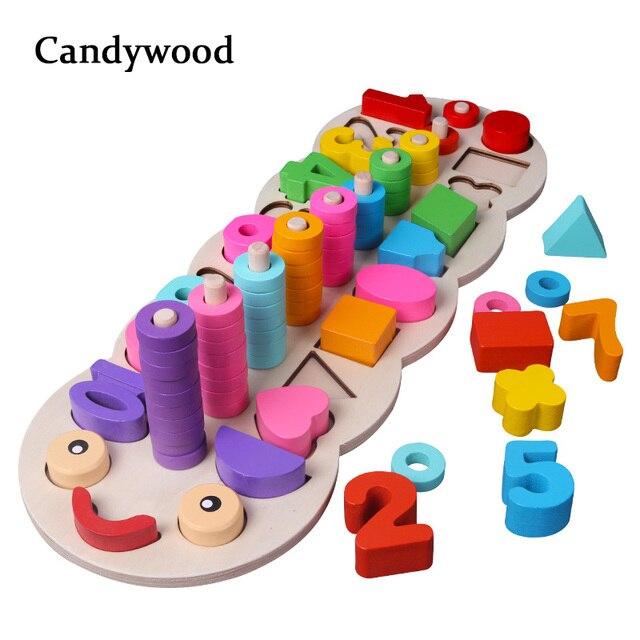 Juguetes de madera para niños materiales Montessori para aprender a contar números que combinan con la forma Digital de la enseñanza temprana de juguetes de matemáticas