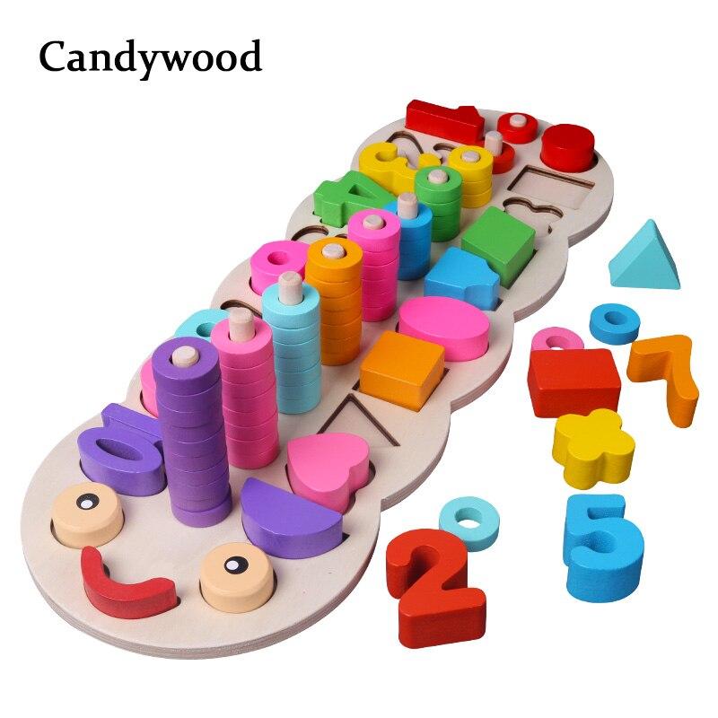 Los niños juguetes de madera Montessori materiales aprender a contar los números juego Digital forma encuentro educación enseñando matemáticas Juguetes