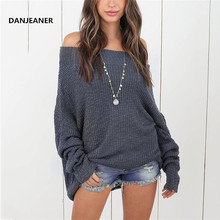 Danjeaner S-5XL Sexy Off Shoulder Long Sweaters Women Autumn Winter Sleeve Solid Slim Fit Knitted Pullovers Plus Size Tops