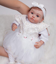 Cheap 20inch Reborn Silicone Baby Dolls Kids Toys Look Like Real Baby Handmade Doll Reborn Brinquedos Juguetes Christmas Gifts