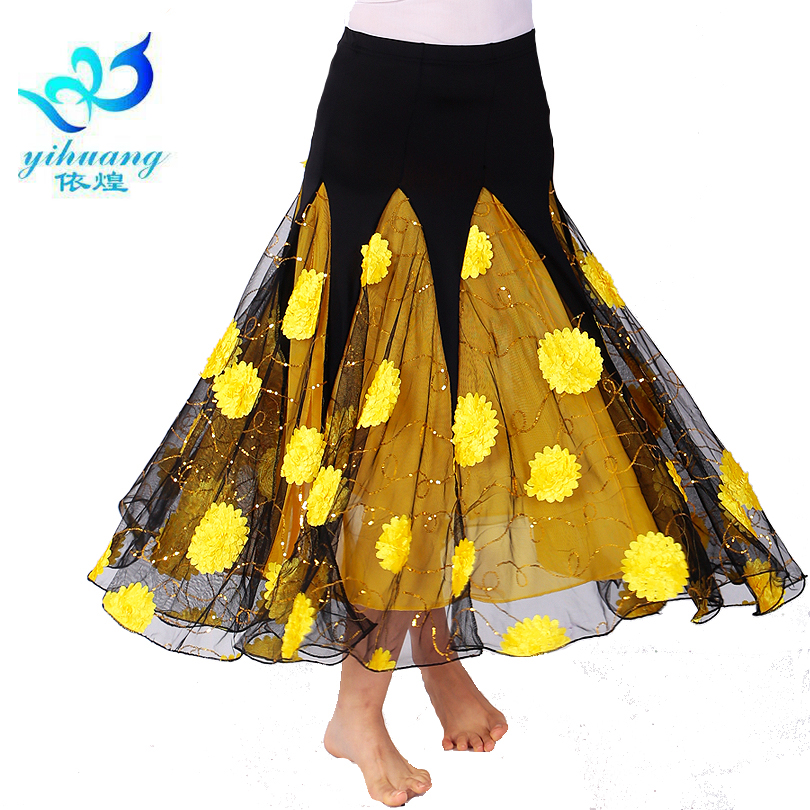 Ladies Ballroom Dance Costume Long Skirt Flamenco Performance Waltz Big Swing Dress Modern Standard Dancewear Tango Skirt