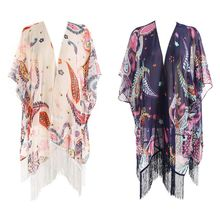 Women Travel Outdoor Sunproof Swimsuit Cover Up Contrast Color Patchwork Paisley Floral Jacquard Kimono Cape Long Tassels Trim S
