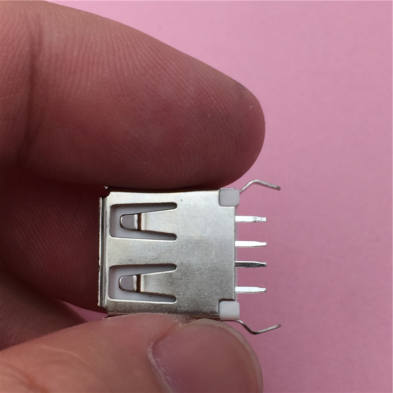 10pcs/lot USB 2.0 4Pin A Type Female Socket Connector G55 Curly Mouth Bent Foot for Data Transmission Charging Free Shipping