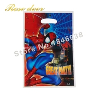 500pcs Lot Spider Man Theme Party Gift Bag Party Decoration Plastic Candy Bag Loot Bag For