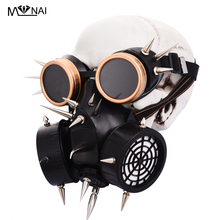 Steampunk Gas Mask Cosplay Halloween Costume Accessories Retro Punk Rock Gothic Spikes With Goggles