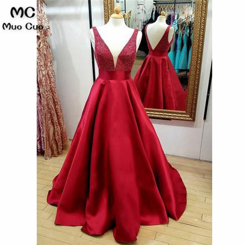 2018 A-Line Beaded   Evening     Dresses   Long Satin Deep V-Neck Straps Sleeveless Prom   dress   for teens Women's Formal   Evening     Dress