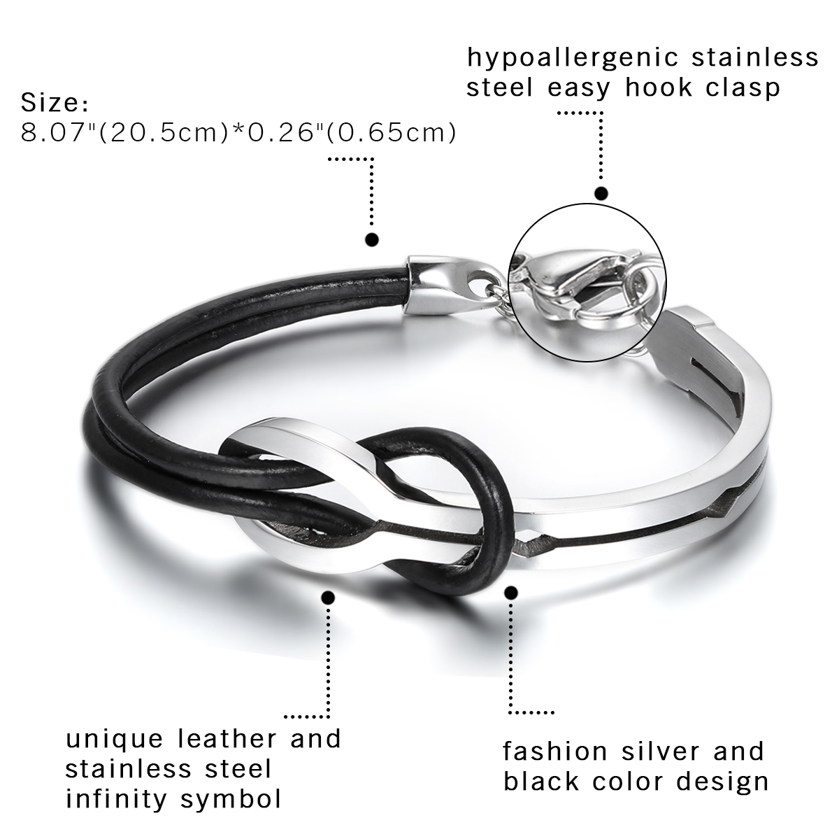 Cool Men Infinity Stainless Steel Leather Bracelet 2