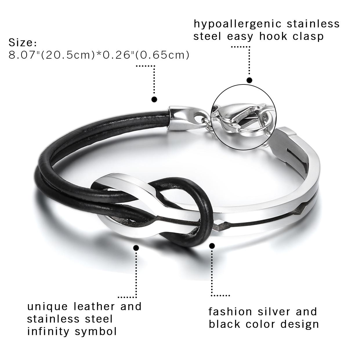 Cool Men Infinity Stainless Steel Leather Bracelet 2