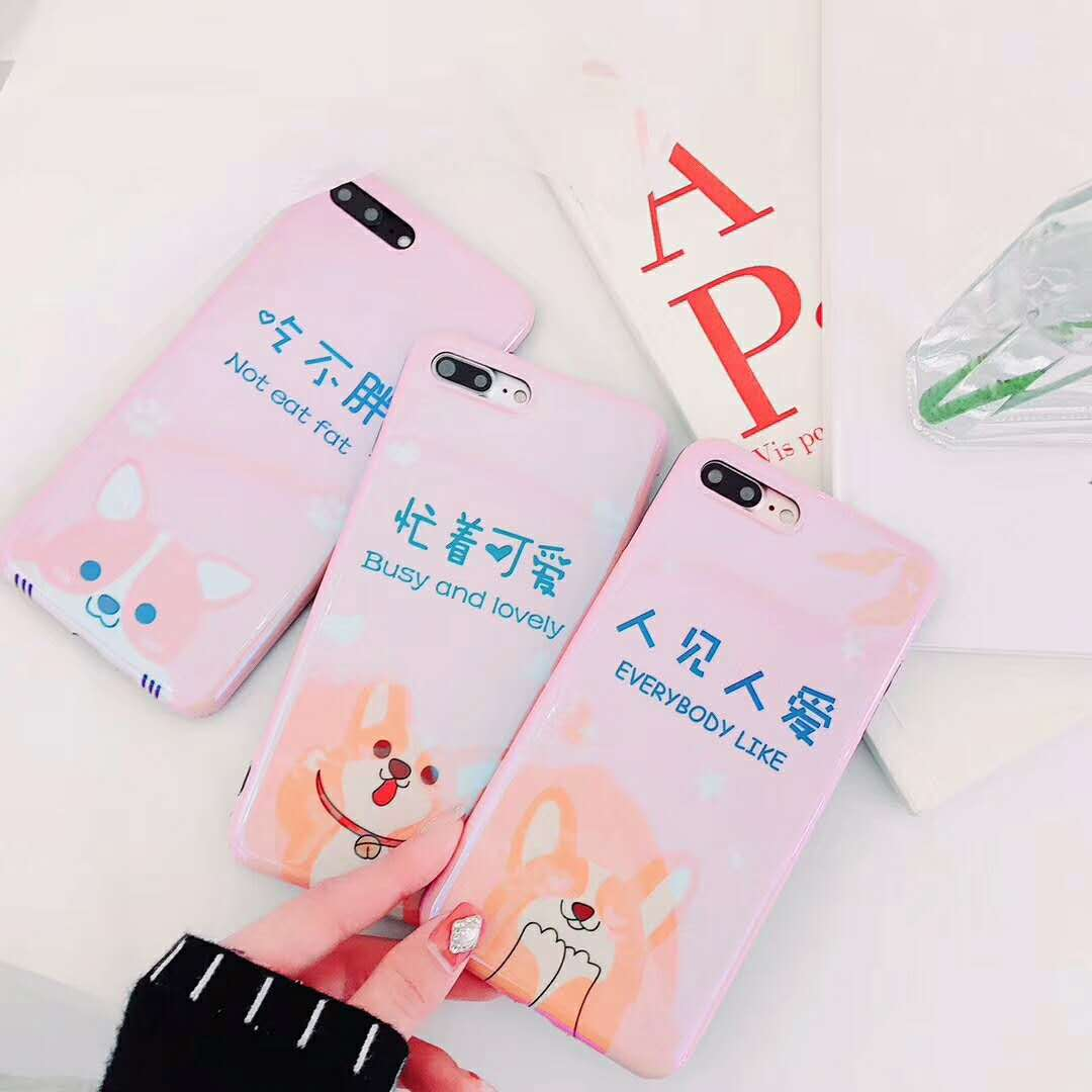 Pink Lovely Cute Corgi Dog Case for Iphone 6 6S S Plus 7 7plus 8 8plus X 10 Fashion Glossy Blue-ray IMD Case