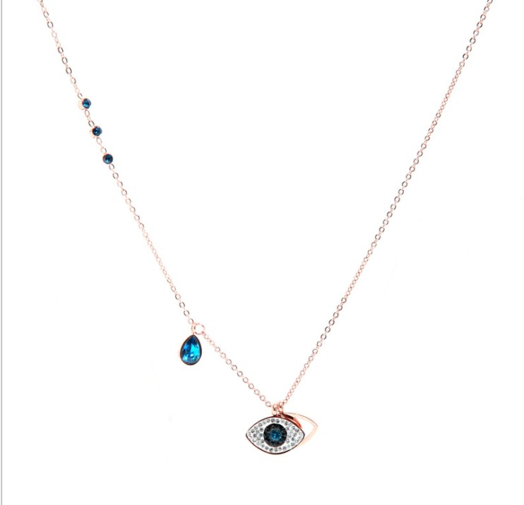 2018 Best Quality Titanium Steel Rose Gold Demon Eye Necklace Original Crystal from Austrian for Women Party Gift