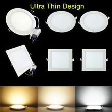 Новое поступление Ультра яркий 3 Вт/4 Вт/6 Вт/9 Вт/12 Вт/15 Вт/25 Вт светодиодный круглый/квадратный Ультра тонкий дизайн 85-265 в светодиодный панельный светильник для помещений светильник Инж