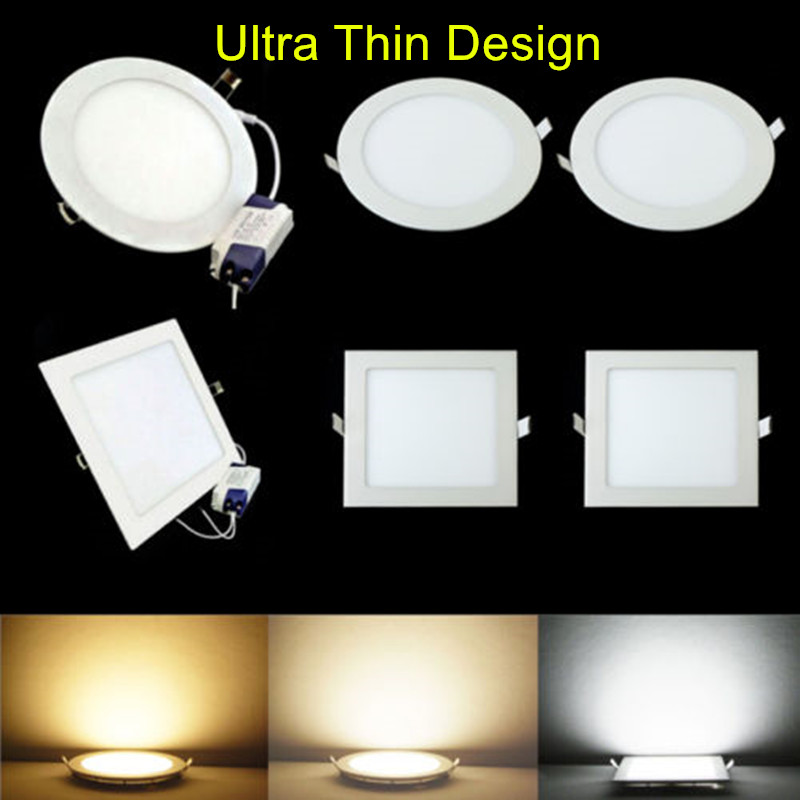 New Arrive Ultra Bright 3W/4W/6W/9W/12W/15W/25W LED Round/Square Ultra Thin Design 85-265V LED Panel Light For Indoor Lighting