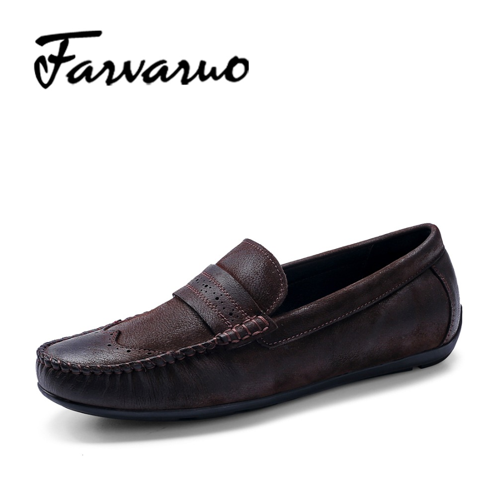 Farvarwo Genuine Leather Suede Shoes Mens Casual Luxury Fashion Loafers Moccasins Slip-On Flat Round Toe Retro Dress Shoes Black farvarwo genuine leather alligator crocodile shoes luxury men brand new fashion driving shoes men s casual flats slip on loafers