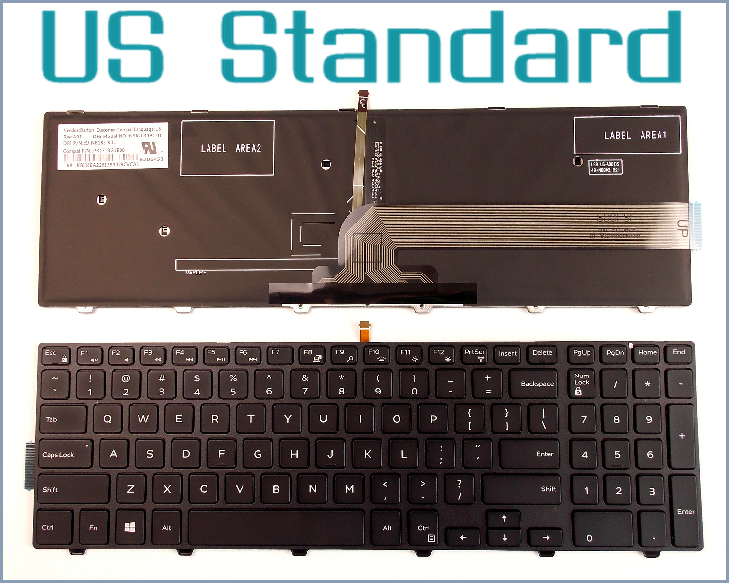 Keyboard US English Version for Dell Inspiron 15-5000 5542 15-5545 5547 i5547 3543 15-5547 Laptop Black With frame Backlit