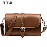 AECLVR Simple Style Small Bag All Match Oil Leather Women Crossbody Bag Party Purse Famous Designer