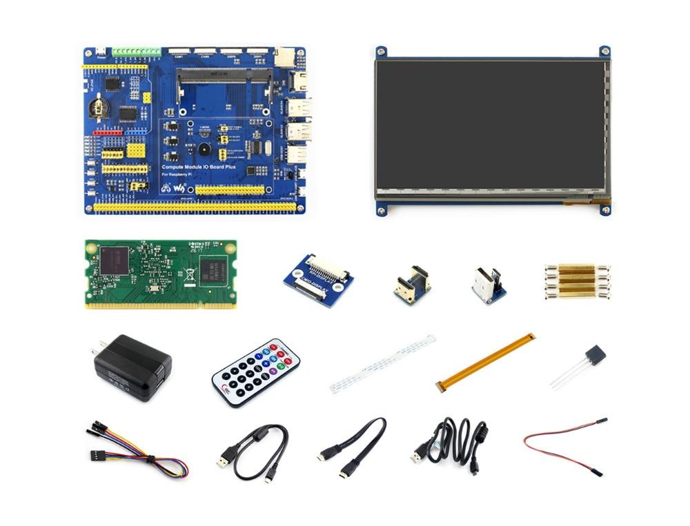 Raspberry Pi Module de calcul 3 Kit de développement Type B avec CM3, 7 pouces HDMI LCD, DS18B20, adaptateur secteur, câble caméra Pi zéro