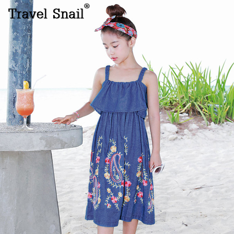 Travel Snail toddler girls dress kids dresses for girls clothes baby girl dress cotton floral height 95cm-165cm 2018 Summer New 3 7 years baby girl dress cotton summer baby white dress toddler vintage dresses british style kids baby girls apparel