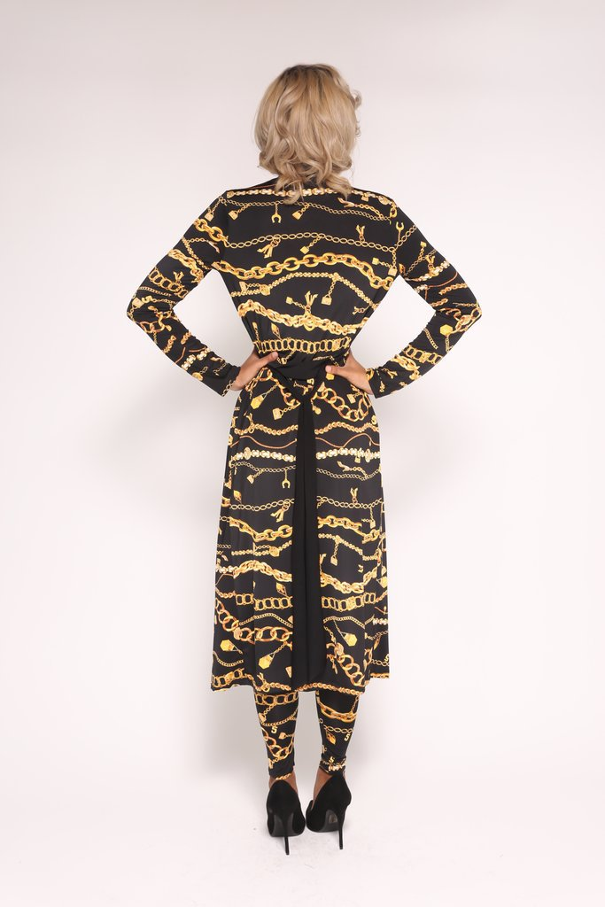 ff4d3cd60b Top selling two piece set sexy jumpsuit women gold chain print bodysuit  women full sleeve body overalls WY6344