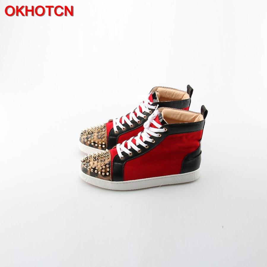 OKHOTCN Men Casual Shoes Leopard Rivets Toe Mixed Colors High Top Plain Shoes Man's Quality Hip Hop Shoes Zapatillas Hombre