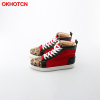 OKHOTCN Men Casual Shoes Leopard Rivets Toe Mixed Colors High Top Plain Shoes Man's Quality Hip Hop Shoes Zapatillas Hombre