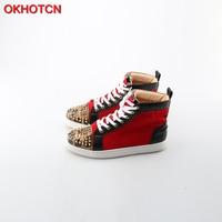 OKHOTCN Men Casual Shoes Leopard Rivets Toe Mixed Colors High Top Plain Shoes Man S Quality