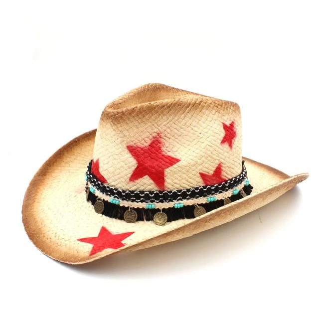 Hecho a mano mujeres de paja Sombrero de vaquero occidental con borla cinta  estrella señora papá b7b3c22619d