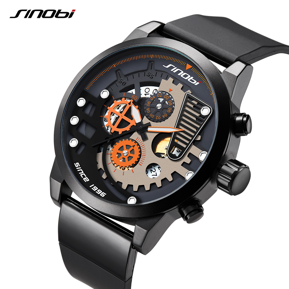 SINOBI New Creative Man Sports Watches Gear Dial Watch Men's Chronograph Clock Wristwatch Top Brand Luxury Relogio Masculino