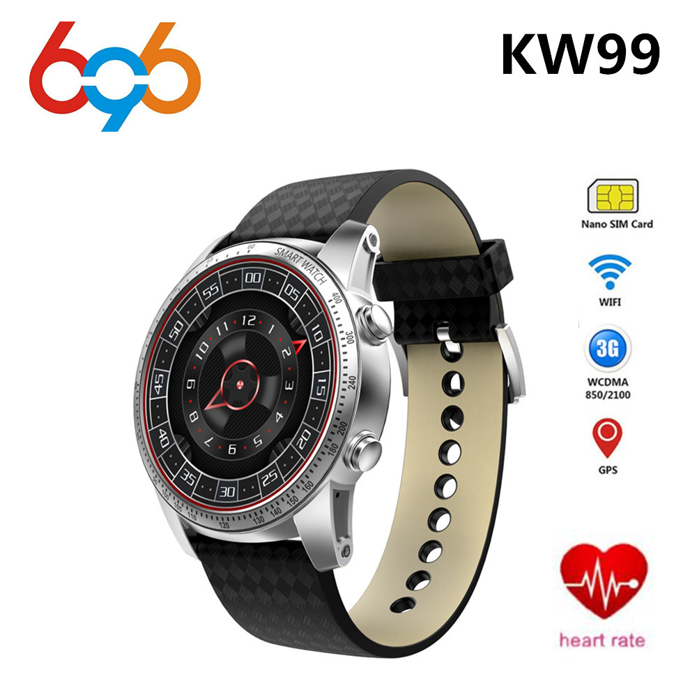 696 KW99 3G Smartwatch Phone Android 5.1 1.39'' MTK6580 Quad Core 8GB ROM Heart Rate Monitor Pedometer Smart Watch For Men цена