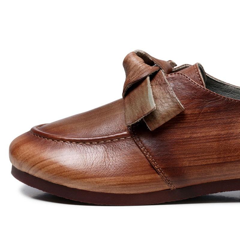 Frotter Loisirs Art En Épaisse Couleur Femmes Nouvelle Chaussures Avec ardoisé Cuir Main La Marron D'origine Simples JFTlc1K