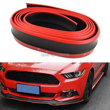 1x 8FT Black Red Bumper Lip Universal Splitter Chin Spoiler Body Kit Trim