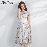 White Evening Dresses Long 2018 Elegant O neck Half Sleeves Tea Length Flower Lace Formal Dress Plus Size