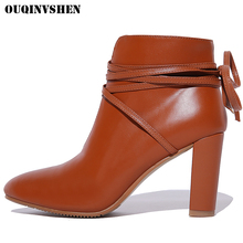 OUQINVSHEN Pointed Toe Square Heel Women's Boots Casual Fashion Ladies Cross Tied Ankle Boots 2017 New Women High Heel Boots