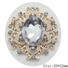Hot sale 10pc 29*32mm golden rhinestone button 2017  Wedding Decoraation metal hair flower center scrapbooking DIY Accessories