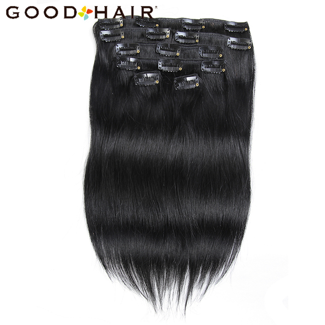 Good hair clip in human hair extensions natural black 7 piecesset good hair clip in human hair extensions natural black 7 piecesset clip on hair pmusecretfo Images