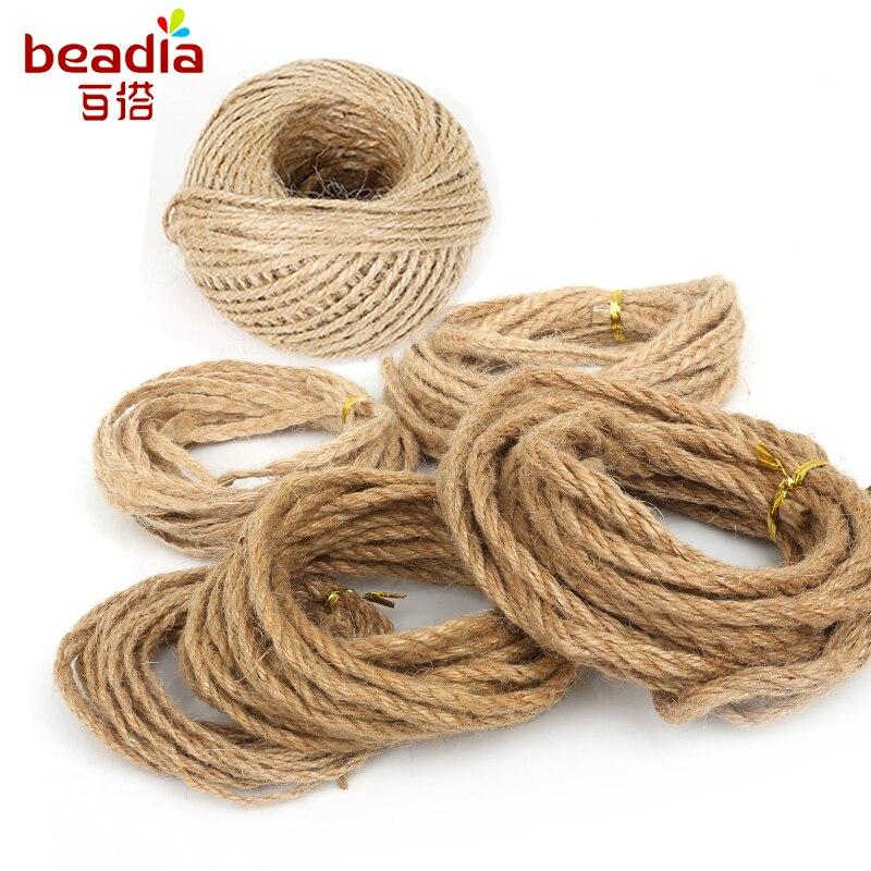 Размер 2-6 мм, веревка из натурального джутового шпагата, веревка из пеньковой веревки, упаковка для свадебного подарка, нить, посылка 5-50 м