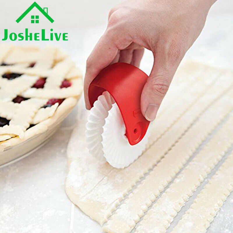 Kue Kering Manis Rolling Wheel Dekorator Cutting Diy Tahan Karat Mie Manual Plastik Pizza Cutter Pisau untuk Dapur Pizza Pie