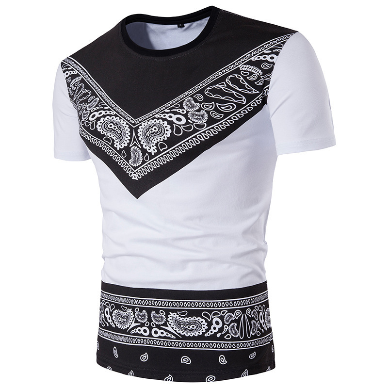 2018 Robe Africaine Men Hot Cotton Polyester New Folk Style T-shirt Mens T-shirt, Short Sleeved Printing All-match Totem