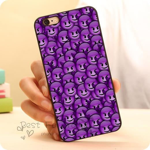 Cute Emoji Purple Devil Funny Hard Black Skin Mobile Phone Cases  Accessories For iPhone 6 6plus 5c 5s 5 4 4s Case Cover Original 0f1a070cb276