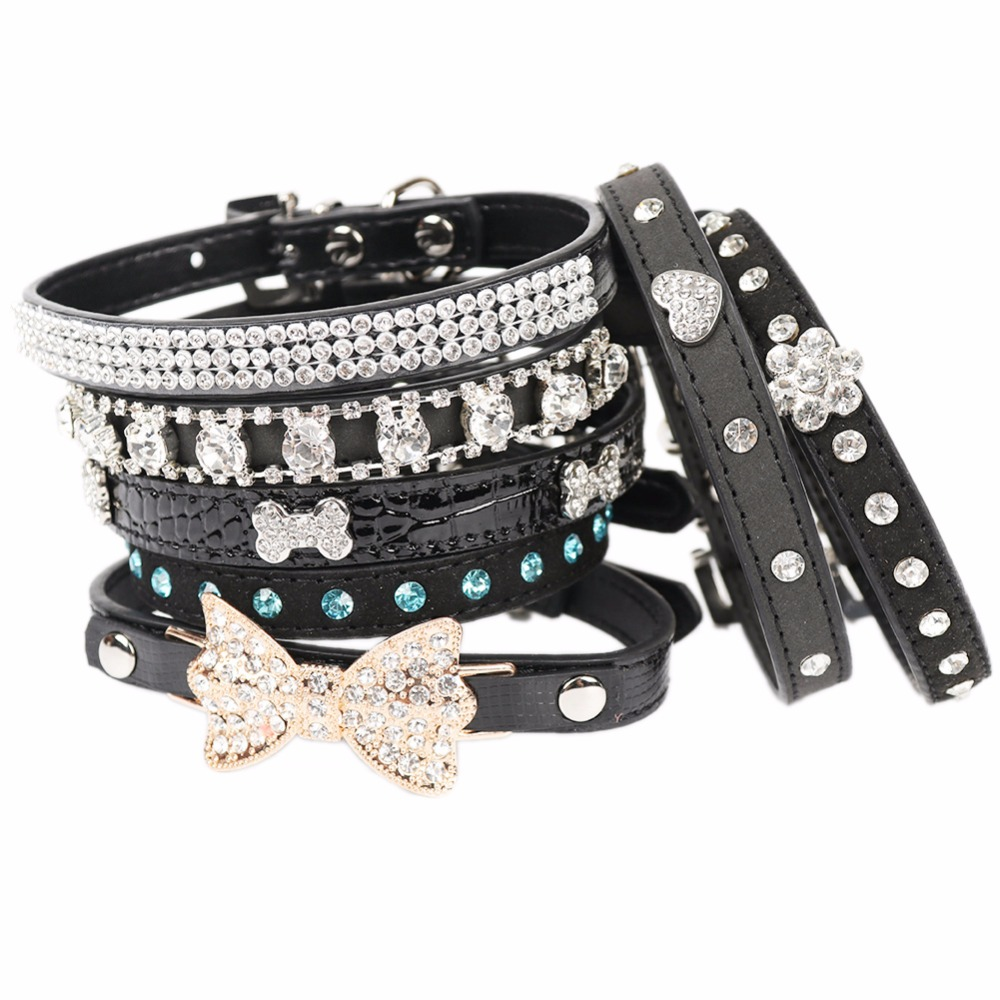 chihuahua collars pipifren black small dogs collars cat collar rhinestone 6785