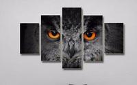 Nieuwe collectie modulaire 5 Panel Dier Schilderijen Print Moderne Zwarte Uil Muur Foto Decoratieve Kunst Olieverf Canvas voor Kantoor