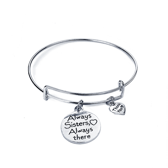 Always Sisters Bracelets There Bracelet Best Friend Family Bangle Thank You Heart S Sister