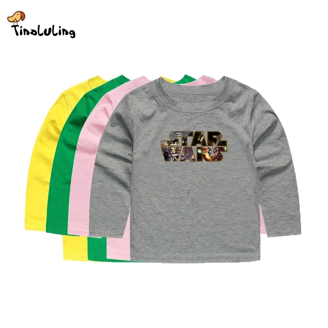 TINOLULING Kids Star Wars T shirt Children Printed T-Shirt Full Sleeve Tees  For Boys Girls Baby Tops For 2-14 Years a5ef753d8