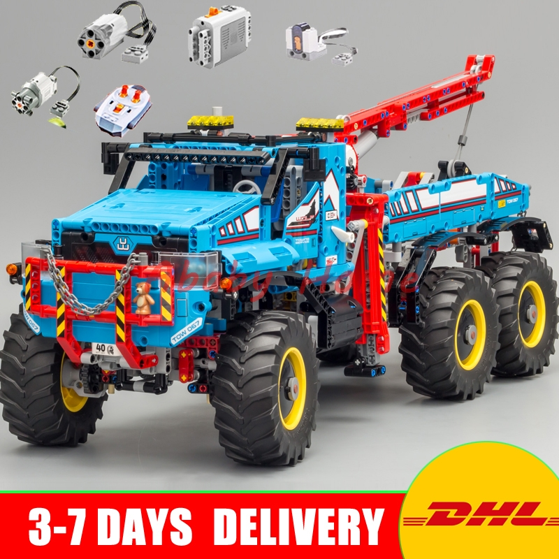 DHL Lepin 20056 Technic Series The Ultimate All Terrain 6X6 Remote Control Truck Set Building Blocks Bricks Toy Clone 42070 lepins 1912pcs technic series the ultimate all terrain 6x6 remote control truck building blocks bricks toys model figures gift